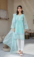 Shirt Embroidered organza front and sleeve's finished with stitching details. Resham lawn attached inner. Back plain organza. Trouser Raw silk trouser finished with stitching details. Dupatta Embroidered cotton net dupatta.
