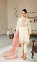 Shirt Embroidered karandi front back and sleeve's finished with adda and lace work. Resham lawn attached inner. Trouser Raw silk straight trouser Dupatta Embroidered organza dupatta.