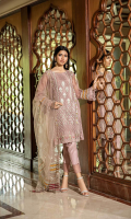 Shirt  Embroidered organza fabric front & sleeves with adda work Attached inner Trouser  Raw silk fabric dyed trouser with stitching detail Dupatta  Embroidered net fabric dupatta with adda work