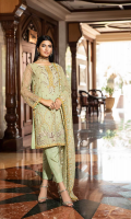 Shirt  Embroidered organza fabric front back & sleeves with adda work Attached inner Trouser  Raw silk fabric dyed trouser Dupatta  Embroidered net fabric dupatta with adda work