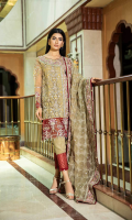 Shirt  Embroidered organza fabric front back & sleeves with adda work Attached inner Trouser  Raw silk fabric dyed trouser with stitching detail Dupatta  Embroidered organza fabric dupatta with adda work