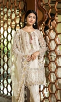 Shirt  Embroidered organza fabric front back & sleeves with adda work Attached inner Trouser  Embroidered raw silk dyed fabric trouser Dupatta  Embroidered net fabric dupatta with adda work & tassels