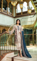 Shirt  Embroidered chiffon fabric front & sleeves with adda work Chiffon fabric back with embroidered daaman Trouser  Embroidered raw silk dyed fabric trouser Dupatta  Embroidered chiffon dupatta with crystal hangings
