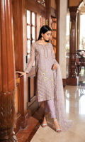 Shirt  Embroidered organza fabric front back & sleeves with adda work Attached inner Trouser  Embroidered raw silk dyed fabric trouser Dupatta  Embroidered net fabric dupatta with adda work