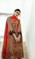 Shirt Embroidered Swiss Front 1.4 m Embroidered Swiss Sleeves 26 inches Embroidered Front + Trouser Patti 2 m Printed Swiss Back 1.4 m  Trouser Cotton Trouser 2.5 m  Dupatta Printed Chiffon Dupatta 2.5 m