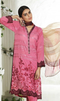 Shirt Embroidered Swiss Front 1.4 m. Embroidered Swiss Sleeve 26 inches. Printed Swiss Back 1.4 m.  Trouser Cotton Trouser 2.5 m.  Dupatta Printed Chiffon Dupatta 2.5 m.
