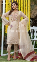 Self embroidered Organza Shirt Embellished with handwork of resham floral motifs, Kora, Stones, Pearls, Kutdana and crystals paired up with lave detailed pants. Color Block Charma detailed dopatta is designed to complete look of this suit