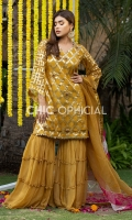 Banarsi Organza Shirt Embellished with kora crystal and stones paired up with chiffon ghahgra pants. Color Block Charma detailed dopatta is designed to complete look of this suit