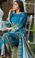 Featuring Petroleum Blue Blockprint Cotton silk Shirt embellished with premium block print motif and pearl detail lace styled with lace embellished wide leg pants and chiffon block print dupatta