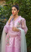 Straight Cut Self Printed Organza Shirt Featuring Silk Thread Rosette motifs adorned with pearl and sequins. Kurta pati is adorned with fabric manipulated petals crystals pearls and sequins. 3 color Dyed pearl net dopatta and lace detailed cotton silk pants...