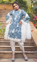 Premium Digital print Chikan Fabric Embellished with handwork of stones pearls kora and feathers paired up with mirror work tulip and Ruffle Layered Net Dopatta