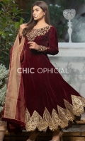 Celeste Maroon with Umbrella cut Velvet Frok Embellished with handwork of kora stones beeds pearls and metal rings paired up with lace detailed pleated pants and Color block Charma detailed organza dopatta