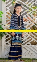 Premium Cotton silk shirt beautified with block print and screen print technique paired up with laced sharara pants