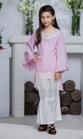 Shirt: Premium Crepe Fabric embellished with handwork of pearls and sequins with details of pleats in organza panel and Lace.  Pant: Rawsilk Gharara pants  Dopatta: Pearl embellished Chiffon Dopatta with Contrast Color Trimmings