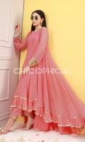 Kamdani Chiffon Frok Embellished with Mirror Borders, ruffled dupatta and mirror border embellished trousers