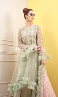 Premium Net Ruffle Trail Frok embellished with handwork of sequins and crystals paired up with ruffle organza chiffon dupatta and lace embellished cotton silk pants