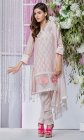Shirt: Premium self print khadi net embellised with handwork of pearls and stones and loops  Pant: Rawsilk straight pants embellished with laces  Dopatta: Pearl embellished chiffon dopatta