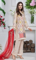 Shirt: Premium Cotton silk Shirt shirt embellished with lace and Block print  Pant: Rawsilk pants embellished with laces  Dopatta: Screen print net dopatta embellished with fringe lace
