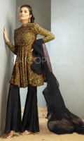 Premium Sequin Velvet Peplum with slightly puff sleeves paired up with peplum pants beautified with organza Frill dupatta.