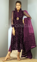 Premium Sequin Embellished velvet Straight Silhouette beautified with Organza ruffle neckline with a statement handmade brouche of kora sequins and crystals paired up with straight pants and pleated organza dupatta.