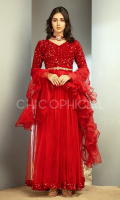 This Princess Pishwas is perfect for upcoming wedding events. Amalgam of Premium sequin velvet and net gathers makes it a voluminous classic pishwas with fur details on sleeves beautified with an embellished velvet belt which is studded with crystals stones...