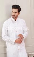 Premium Cotton Embroidered sherwani kurta paired up with cotton trousers