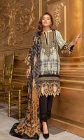 Shirt: Digital Printed Lawn (3 meters) Dupatta: Digital Printed Lawn (2.5 meters) Trouser: Dyed Cambric (2.5 meters)