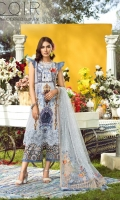 1.25 Yards Printed Lawn Front 1 PC Embroidered Organza Front Motif 1 Yard Embroidered Organza Front Border 1.25 Yards Printed Lawn Back 0.75 Yard Printed Lawn sleeves 2.75 Yards Embroidered Net Dupatta 8 Yards Embroidered Organza Dupatta Border 6 PCS Embroidered Organza Dupatta Motif