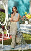 1.25 Yards Embroidered Printed Lawn Front 1.50 Yards Embroidered Organza Neck Border 2 PCS Embroidered Organza Front Motif 1 Yard Embroidered Organza Front Border 1.25 Yards Printed Lawn Back 0.75 Yard Printed Lawn Sleeves 2.75 Yards Printed Mid-Silk Dupatta 2.75 Yards Embroidered Organza Dupatta Border