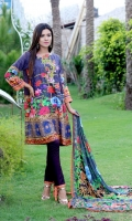 Digital Printed Shirt With Embroidered Front  Back Printed  Printed Crinkle Chiffon Duptta  Dyed Trouser