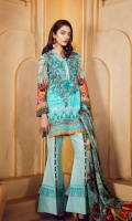 Lawn Digital Front : 1.25 m Lawn Digital Back : 1.25 m Lawn Printed Sleeves : 0.65 m 100% Pure Silk Dupatta : 2.5 m Dyed Cotton Trouser : 2.5 m  Embroidery Embroidered Front Patch : 2 Piece Embroidered Border : 1 m