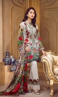 Lawn Digital Front : 1.25 m Lawn Digital Back : 1.25 m Lawn Printed Sleeves : 0.65 m 100% Pure Silk Dupatta : 2.5 m Dyed Cotton Trouser : 2.5 m  Embroidery Embroidered Neckline : 1 Piece Embroidered Border : 1 m