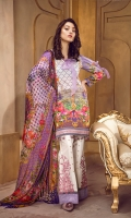 Lawn Digital Front : 1.25 m Lawn Digital Back : 1.25 m Lawn Printed Sleeves : 0.65 m 100% Pure Chiffon Dupatta : 2.5 m Dyed Cotton Trouser : 2.5 m  Embroidery Embroidered Border 1 : 1 m Embroidered Border 2 : 26 Inches