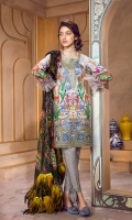 Lawn Digital Front : 1.25 m Lawn Digital Back : 1.25 m Lawn Printed Sleeves : 0.65 m 100% Pure Chiffon Dupatta : 2.5 m Dyed Cotton Trouser : 2.5 m  Embroidery Embroidered Neckline : 1 Piece Embroidered Border : 26 Inches