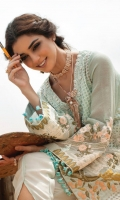 1. 1.1 meters Embroidered and Sequined Front on Katan Organza  2. 2 meters Zari Net for Back and Sleeves  3. 1 Embroidered Daman  4. 1 Pair of Embroidered Sleeves 5. 1 Embroidered Back Motif  6. 1 Hand Embellished Neckline Talpat 7. 2.5 meters Printed Medium Silk Dupatta  8. 5 meters Embroidered and Sequined Border on Rawsilk for Dupatta  9. 2.5 meters Solid Dyed Cotton Silk Lining  10. 2.5 meters Solid Dyed Raw Silk Pant