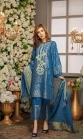 Embroidered Neck Patch Trouser Cotton Jacquard Dupatta Cotton Jacquard