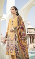 SHIRT  DIGITAL PRINTED EMBROIDERED LINEN FRONT  DIGITAL PRINTED BACK & SLEEVES  TROUSER  DYED LINEN TROUSER  DUPATTA  DIGITAL PRINT VISCOSE NET DUPATTA
