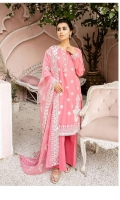 SHIRT LAWN EMBROIDERED SHIRT FRONT, BACK, AND SLEEVES  TROUSERS CAMBRIC DYED TROUSER  DUPATTA EMBROIDERED CHIFFON DUPATTA