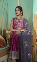 SHIRT (2.5M)  100% COTTON JACQUARD SHIRT  1 EMBROIDERED NECKLINE  EMBROIDERED PATTI FOR SHIRT  TROUSER (2.5M)  DYED CAMBRIC TROUSER  DUPATTA (2.5M)  JACQUARD DUPATTA