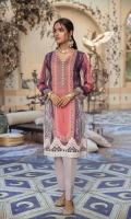 SHIRT (2.5M)  DIGITAL PRINTED LAWN SHIRT  EMBROIDERED PATTI FOR SHIRT HEM  TROUSER (2.5M)  DYED CAMBRIC TROUSER