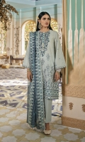 SHIRT (2.5M)  DYED EMBROIDERED FRONT AND SLEEVES  DIGITAL PRINTED BACK  1 EMBROIDERED NECKLINE  TROUSER (2.5M)  DYED CAMBRIC TROUSER  DUPATTA (2.5M)  EMBROIDERED SQUARE NET DUPATTA