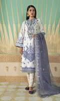SHIRT (2.5M)  DIGITAL PRINTED LAWN SHIRT  1 EMBROIDERED NECKLINE  TROUSER (2.5M)  DYED CAMBRIC TROUSER  DUPATTA (2.5M)  EMBROIDERED SQUARE NET DUPATTA
