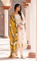 SHIRT (2.5M)  EMBROIDERED LAWN FRONT AND SLEEVES  DIGITAL PRINTED BACK  TROUSER (2.5M)  DYED CAMBRIC TROUSER  DUPATTA (2.5M)  DIGITAL PRINT VISCOSE SILK DUPATTA