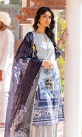 SHIRT (2.5M)  DIGITAL PRINTED LAWN SHIRT  EMBROIDERED PATTI FOR SHIRT  TROUSER (2.5M)  DYED CAMBRIC TROUSER  DUPATTA (2.5M)  DIGITAL PRINT VISCOSE SILK DUPATTA