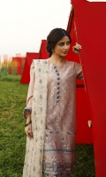 SHIRT (2.5M)  EMBROIDERED LAWN FRONT AND SLEEVES  DIGITAL PRINTED BACK  TROUSER (2.5M)  DYED CAMBRIC TROUSER  DUPATTA (2.5M)  EMBROIDERED RAJJO NET DUPATTA
