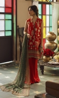 SHIRT (2.5M)  EMBROIDERED LAWN FRONT  DIGITAL PRINTED BACK & SLEEVES  TROUSER (2.5M)  DYED CAMBRIC TROUSER  DUPATTA (2.5M)  DIGITAL PRINT CRINKLE CHIFFON DUPATTA