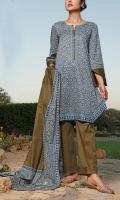 3.0 Meter Printed Lawn Shirt 2.5 Meter Printed Lawn Dupatta 2.5 Meter Dyed Trouser