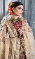 "Embroidered handmade neckline 1 pcs Embroidered handmade chiffon front body 26"" Embroidered chiffon back body 26"" Embroidered chiffon sleeve 26"" Embroidered sleeve border 1 yard Embroidered lehnga net panels 12 pcs Embroidered lehnga border 108"" Embroidered organza Duppata 2.5 yards Embroidered organza Duppata pallu 90"" Trouser russian grip 2.5 yards"