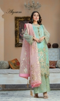 "Embroidered front mid panel on organza 13"" Embroidered front border on organza 1 yard Embroidered sleeve on organza 26"" Embroidered sleeve border on organza Embroidered back on chiffon 1 yard Embroidered back border on organza 1 yard Embroidered side panels on chiffon 26"" Dupatta Foil print 2.75 yards Trouser jamawar 2.5 yards Foil print"
