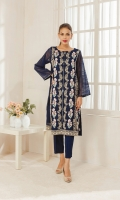 Crafted on khaddi net fabric this rich embroidered kurta along with mirror detailing